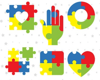 Autism Symbols SVG File, Autism Puzzle Printable Files, Autism Support Cut Files, Autism Awareness Images, Vector Decal, Layered DXF, MY011