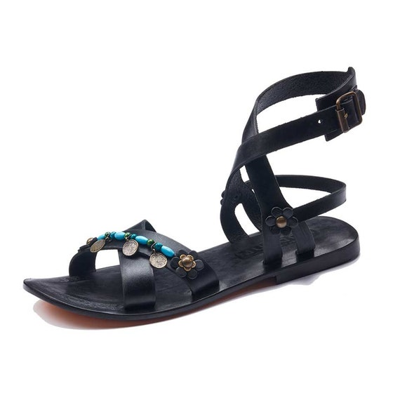 d785a0b53179ab Womens Sandals Handmade Leather Ankle Wrap Sandals