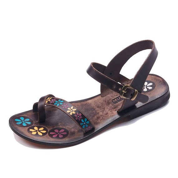 2a2eaac197b5 ... Leather Loop Sandals Toe Sandals Sandals Sandals Womens Colorful Leather  Pattern Brown Sandals Sandals Bodrum Womens. Handmade ...