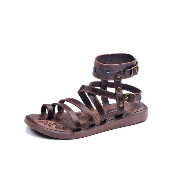Womens Sandals, Handmade Leather Ankle Wrap Womens Sandals, Toe Loop sandals, Strappy Sandals