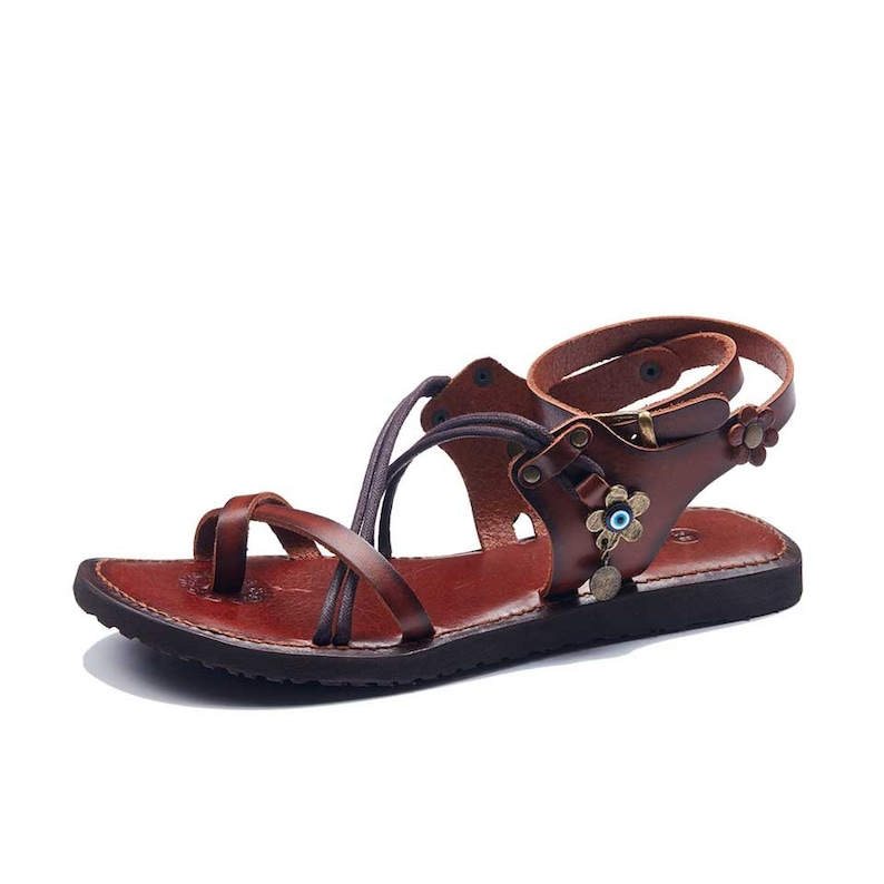 1d2e29f6c40744 Womens Sandals Handmade Leather Ankle Wrap Sandals Toe Loop
