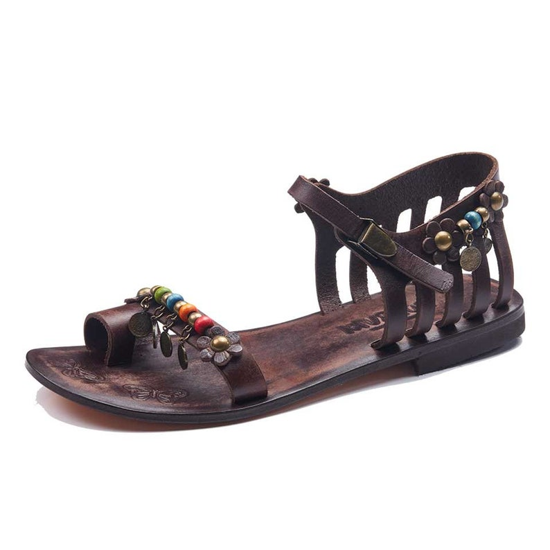 4d8a4ac269d608 Toe Loop Strappy Womens Sandals Buckle and Colored Beads