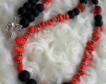 Agate & Coral Necklace