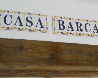 house number / letters Catalan large tile number spanish a - z