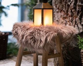 "Round decorative fur ""taupe"" FF612507"
