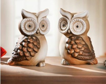 """Pair of Owls """"Terracotta"""" Set of 2 FF775025"""