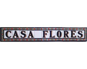 Letter FLORES ceramic flower names tile A - Z