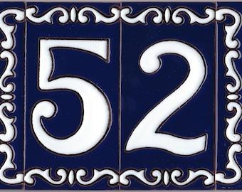 House number FONDE AZUL ceramic blue tile number 0 - 9