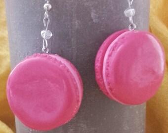Pink macaroon earrings handmade in polymer clay - fimo jewelry