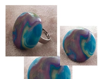 idea gift: lagoon blue ring with polymer clay