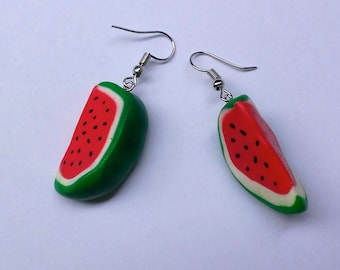 watermelons with polymer clay earrings