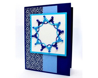 Embroidered Greeting Card with Beads - Father's Day Collection - Tranquility - Portrait