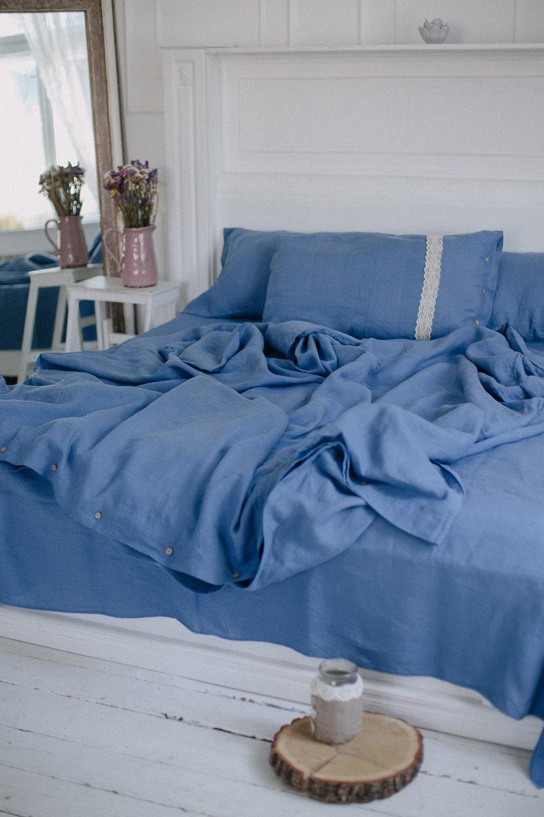 Leinen Blau Bettbezug König Blau Bio Leinen Bettwäsche Set König Schwere Leinen Bettbezug König Blauen Ozean Blau Königin