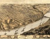 Bird 39 s Eye View Map of Kansas City, Missouri (1869) Panoramic Gallery Wrapped Canvas Wall Art Print (D40)