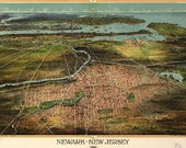 Bird 39 s Eye View Map of Newark, New Jersey (1916) Panoramic Gallery Wrapped Canvas Wall Art Print (D40)