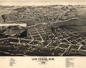 Bird 39 s Eye View Map of Las Vegas, New Mexico 1882 Panoramic Gallery Wrapped Canvas Wall Art Print (D40)