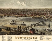 Bird 39 s Eye View Map of Louisville, Kentucky (1876) Panoramic Gallery Wrapped Canvas Wall Art Print (D40)