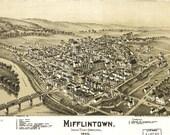 Bird 39 s Eye View Map of Mifflintown, Pennsylvania (1895) Panoramic Gallery Wrapped Canvas Wall Art Print (D40)