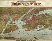 Bird 39 s Eye View Map of New York City, by Knickerbocker Beer (1912) Panoramic Gallery Wrapped Canvas Wall Art Print (D40)