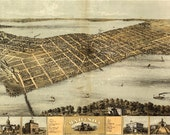 Bird 39 s Eye View Map of Madison, Wisconsin (1876) Panoramic Gallery Wrapped Canvas Wall Art Print (D40)