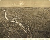 Bird 39 s Eye View Map of Niles, Michigan (1868) Panoramic Gallery Wrapped Canvas Wall Art Print (D40)