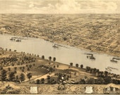 Bird 39 s Eye View Map of Jefferson City, Missouri (1869) Panoramic Gallery Wrapped Canvas Wall Art Print (D40)