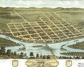 Bird 39 s Eye View Map of Sauk City, Wisconsin (1870) Panoramic Gallery Wrapped Canvas Wall Art Print (D40)