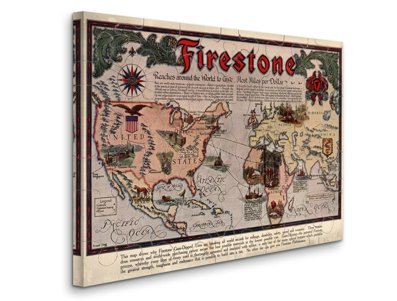 D4060 Puzzle Map Firestone Reaches Around the World to Give Most Miles per Dollar Gallery Wrapped Canvas Wall Art Print