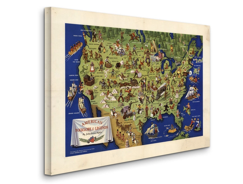 D4060 American folklore /& Legends By John Dukes McKee Gallery Wrapped Canvas Wall Art Print