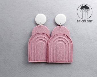 Studs two-piece art deco rainbow porcelain earrings pink dangle