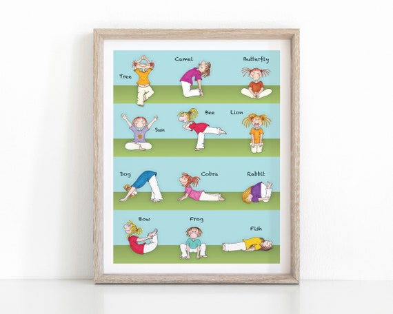 photo relating to Yoga Poses for Kids Printable identified as Kids Yoga Poster Eco-friendly and Blue, Youngsters Yoga Poses, 8x10 Nursery Wall Print, Fast Down load Printable, Yoga Artwork, Yoga Studio, Boy or girl Yoga