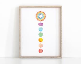Chakra Wall Art, Instant Download Yoga Print