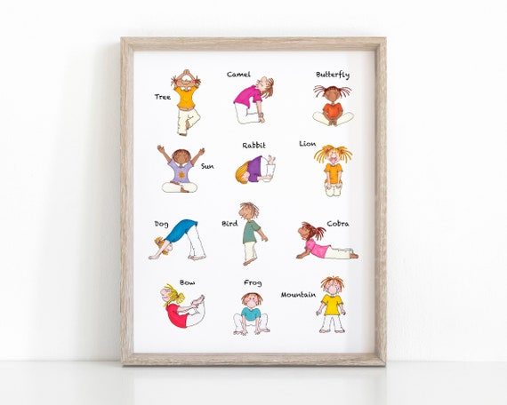 Children Yoga Poster Yoga Poses For Kids Printable Nursery Etsy