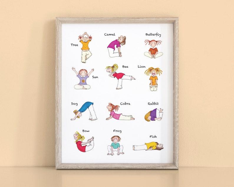 photograph about Kids Yoga Poses Printable titled Kids Yoga Poster A2 Wall Print, Yoga Poses for Children, Instantaneous Down load Higher Printable, Yoga Artwork, Nursery Decor, Boy or girl Yoga