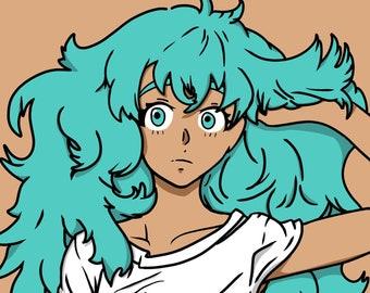 Items Similar To Blue Hair Anime Girl On Etsy
