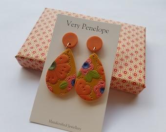 Polymer Clay Earrings 'Mustard Floral'/Large tear drop dangle