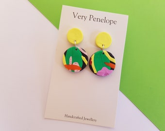 Polymer Clay Earrings 'Tropical Rainforest'/small round dangle