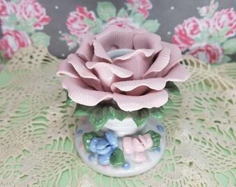 Sweet Spring Rose Candle Holder Blue and Pink Flower