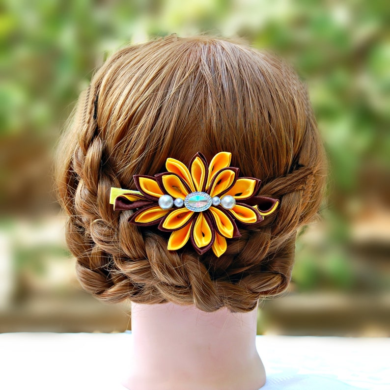 Floral wedding hair clip Large yellow flower hair clip Statement flower hairpiece Bridal hair piece