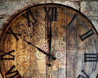 Large Solid Oak-Barrel Wall Clock - Featuring Metal Cogs