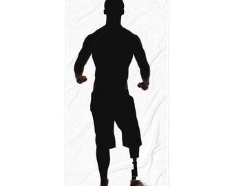 Alex in Silhouette, prosthetic leg beach towel