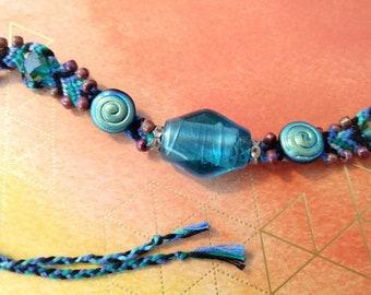 Blue Glass Bead Woven Friendship Bracelet