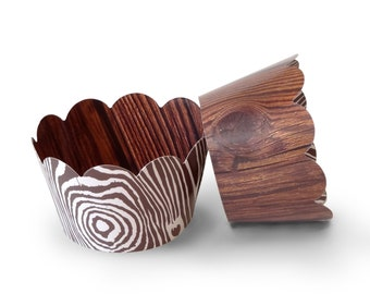 Wood Grain Cupcake Wrappers, Rustic, Woodsy, and Natural for Birthday Parties, Baby Showers, Bridal Showers, and Special Occasions