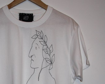 T-SHIRT HAND EMBROIDERED Dante Alighieri oversize unisex size L only one Piece