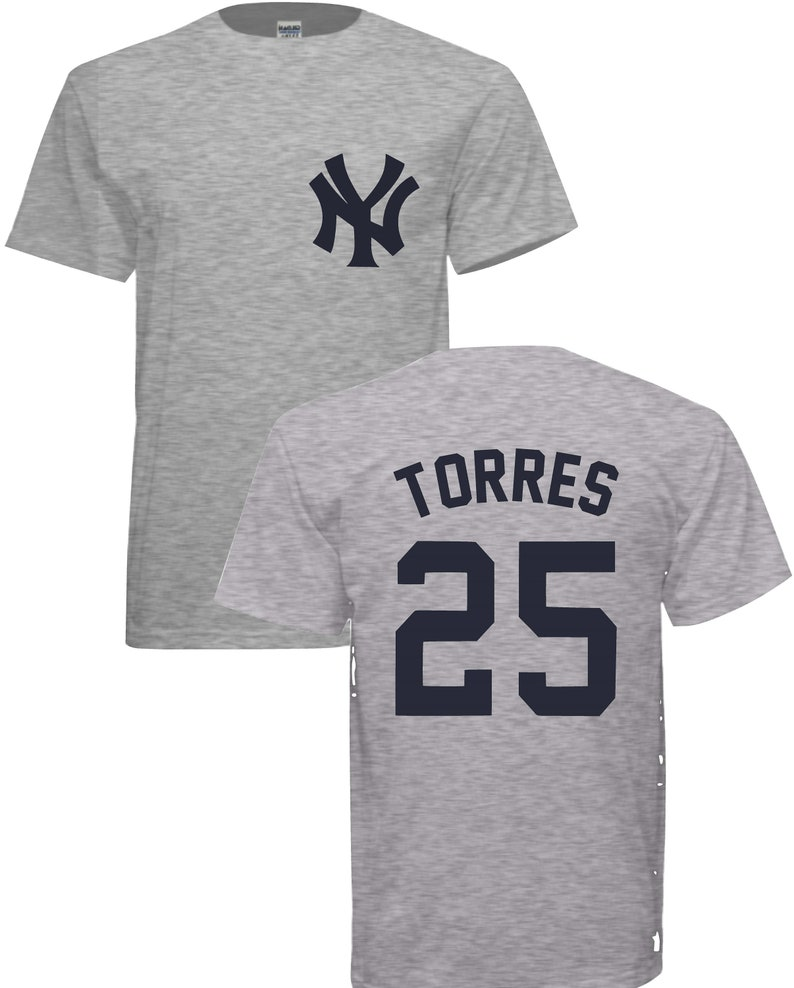 low priced 514e1 ab6dd 25 Gleyber Torres Grey Yankees T-shirt. Free Shipping