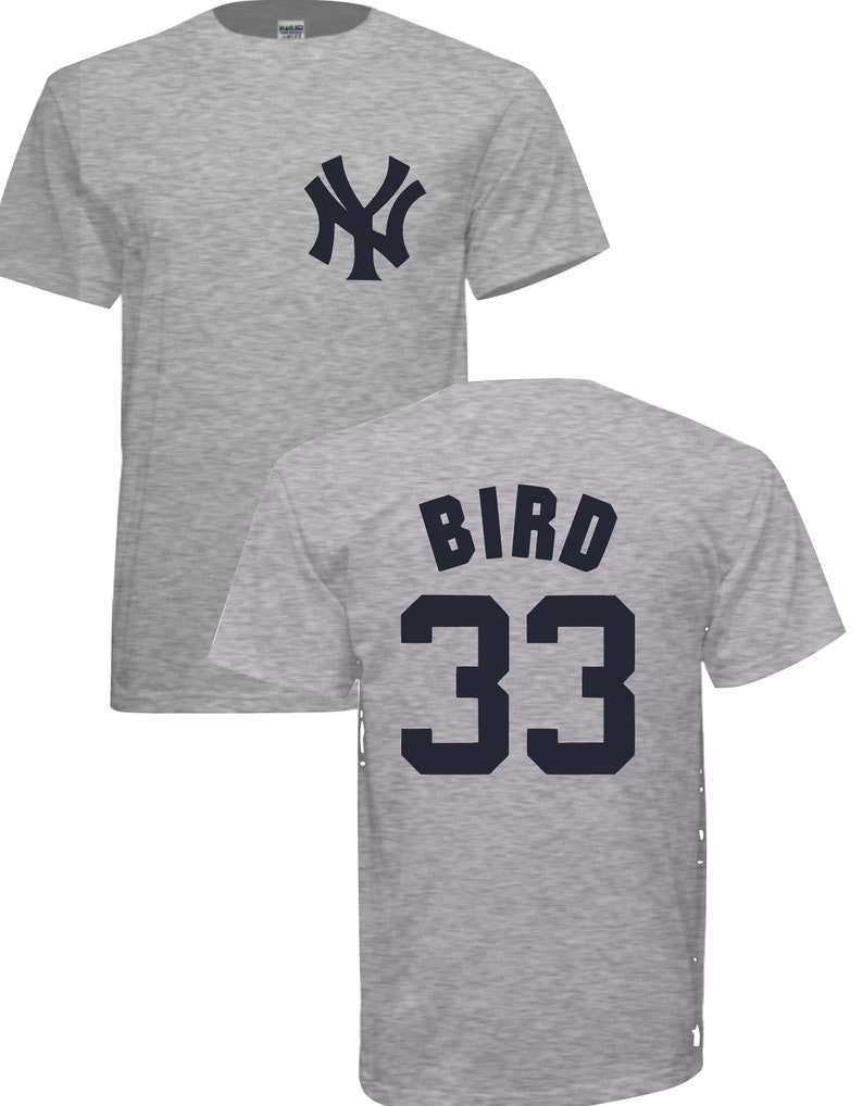 100% authentic 1f6bc 1d9cd 33 Greg Bird Grey Yankees T-shirt. Free Shipping