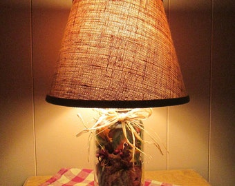 Fall Leaves/Table Lamp/Raffia Bow/Lighting/Burlap/Mason Jar/Acorns/Homespun