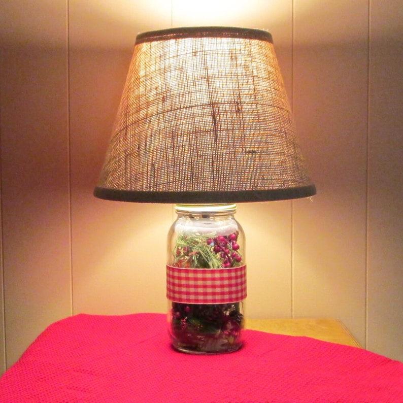 Christmas Table Lamp Greens And Berries Pine Cones Seasonal Etsy