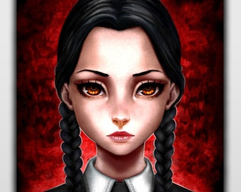 WEDNESDAY ADDAMS Print - The Addams Family - Art by David R. Sainz - High Quality 300gr.