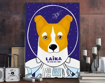 Poster Laika the dog A3 / 30x40